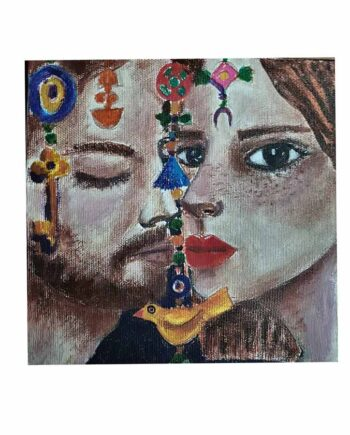 acrylic art painting on canvas Amulets and Symbols No. 7 by Muruvvet Durak