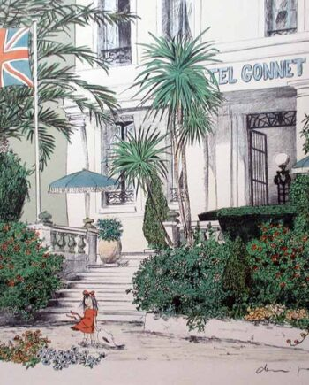 French artist Denis Paul Noyer - limited edition lithographic print Hotel Gonnet