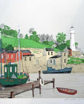 French artist Denis Paul Noyer - limited edition lithographic print Lighthouse Harbor