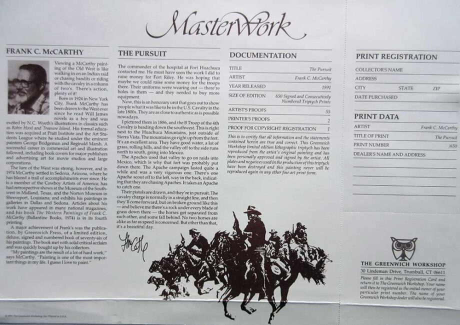 Frank C. McCarthy - artist print - The Pursuit