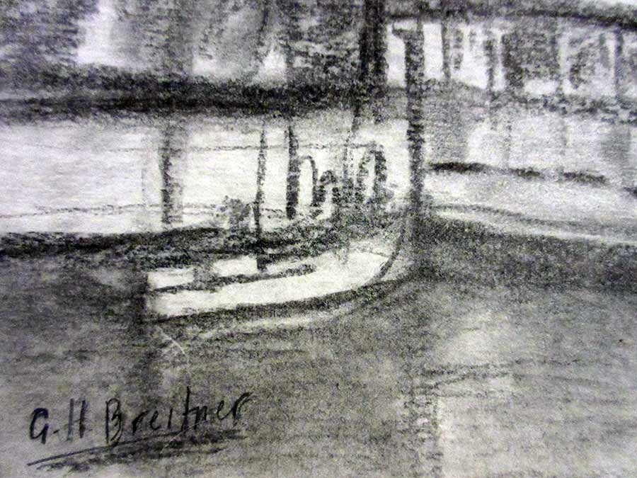 George Hendrik Breitner a Dutch charcoal on paper a Waterfront Landscape Scene