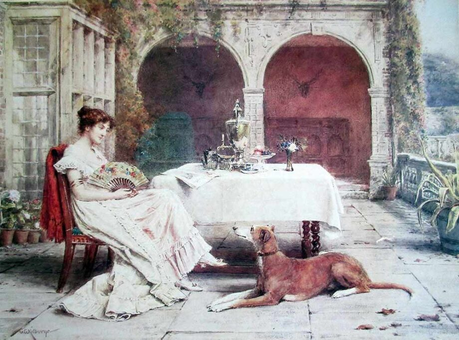 Faithful Friend at Tea Time a lithographic print by G.G. Kilburne