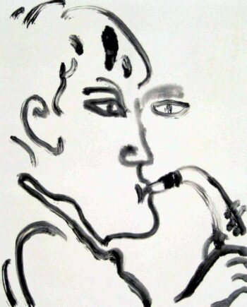 Misterioso a monotype print by Arthur Secunda part of the Jazz Suite
