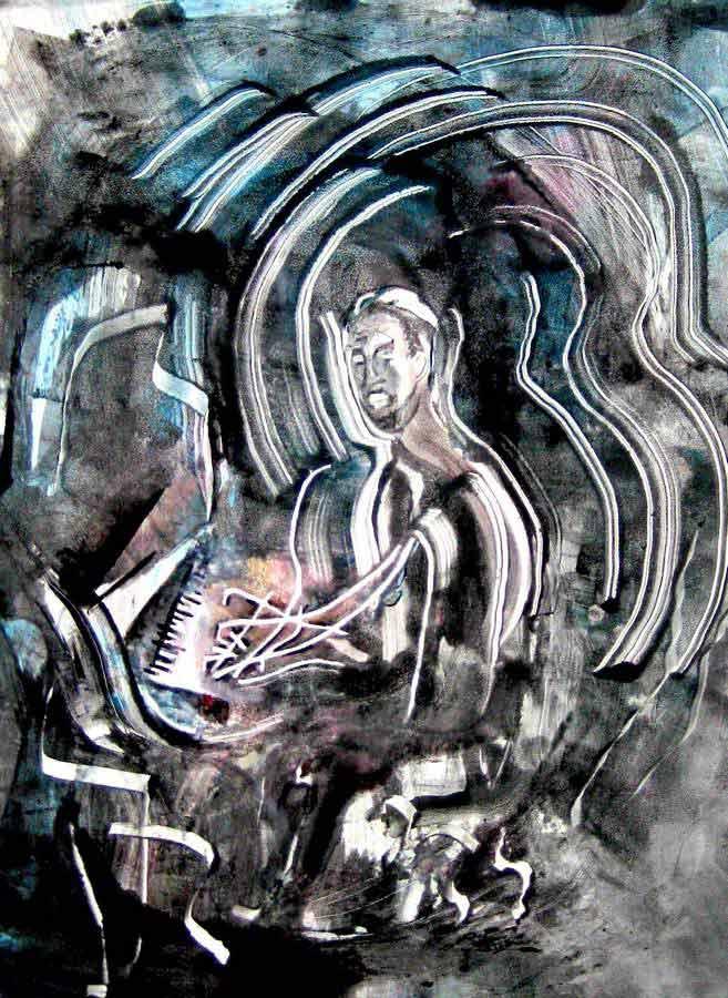 Jazz Suite by artist Arthur Secunda - Nat King Cole monotype