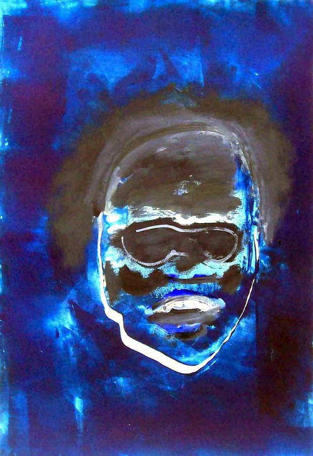 Ray Charles a monotype print by Arthur Secunda a part of the Jazz Suite