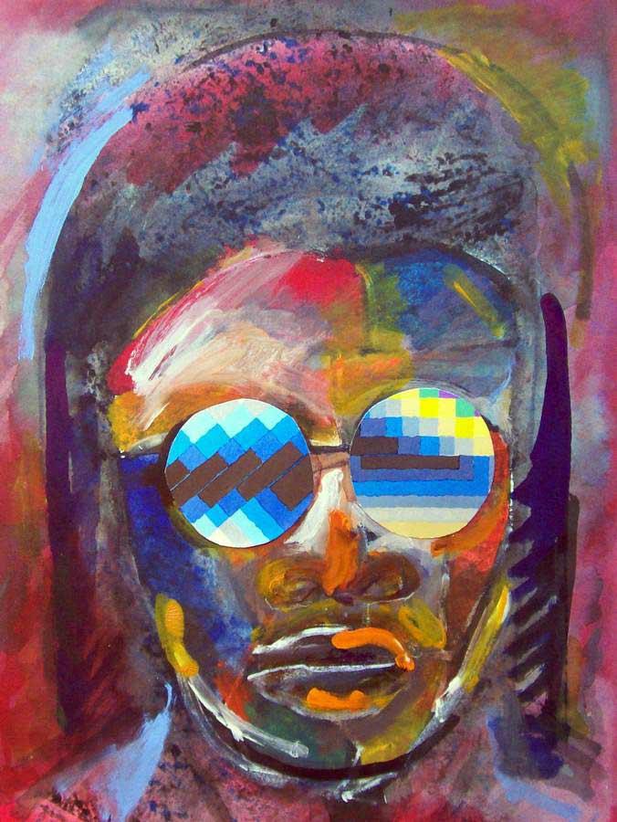 Stevie Wonder a monotype art print by Arthur Secunda