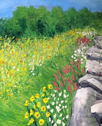 Island in Maine a painting in acrylic by Paul Crimi of Monhegan Island ME