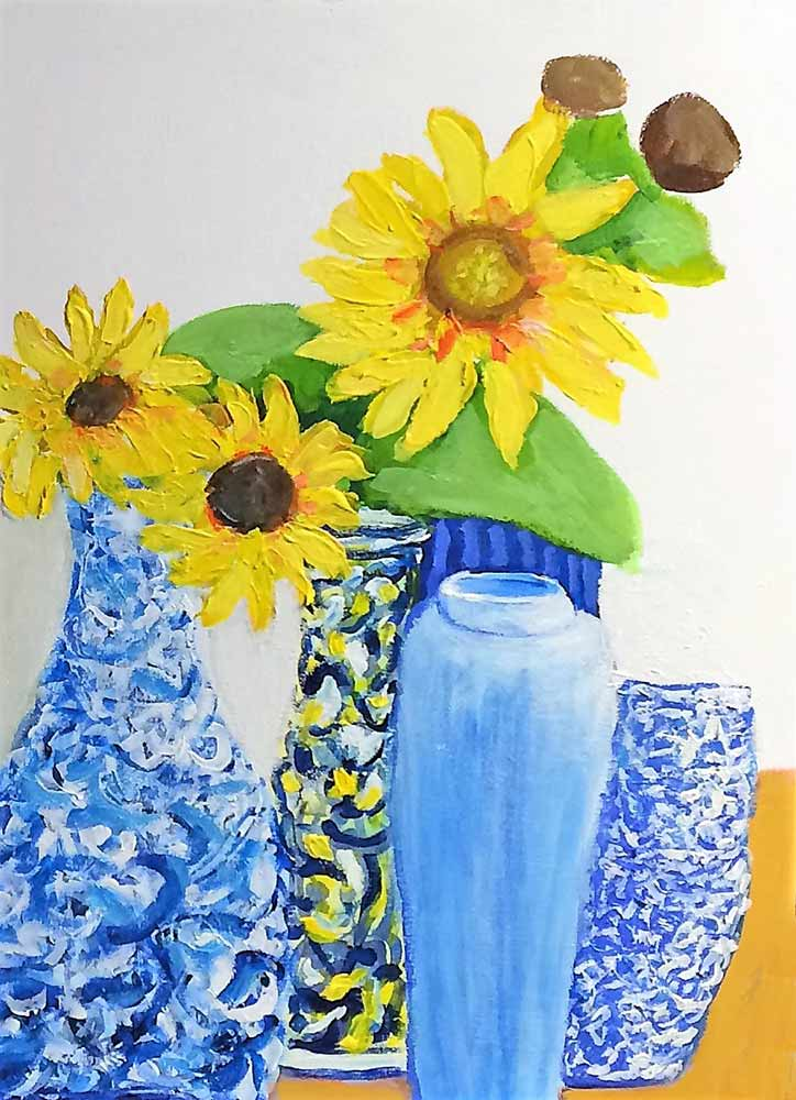 Sunflower an acrylic painting by noted artist Paul Crimi