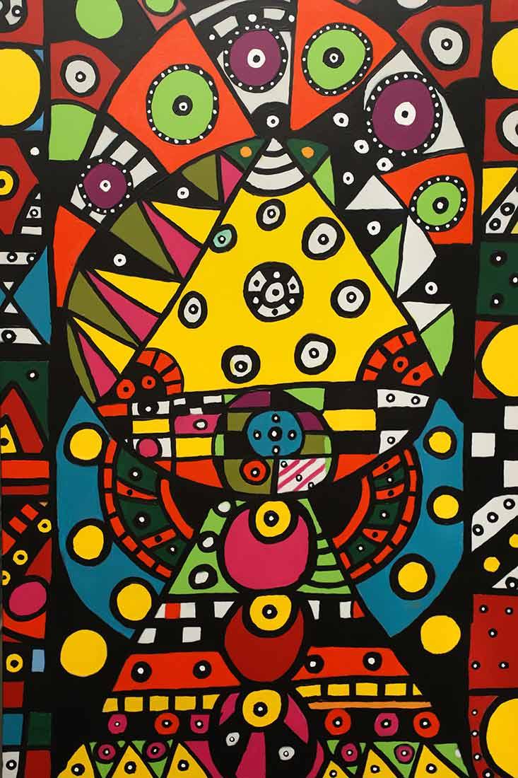 acrylic art painting Jukebox by artist Roland Roberge