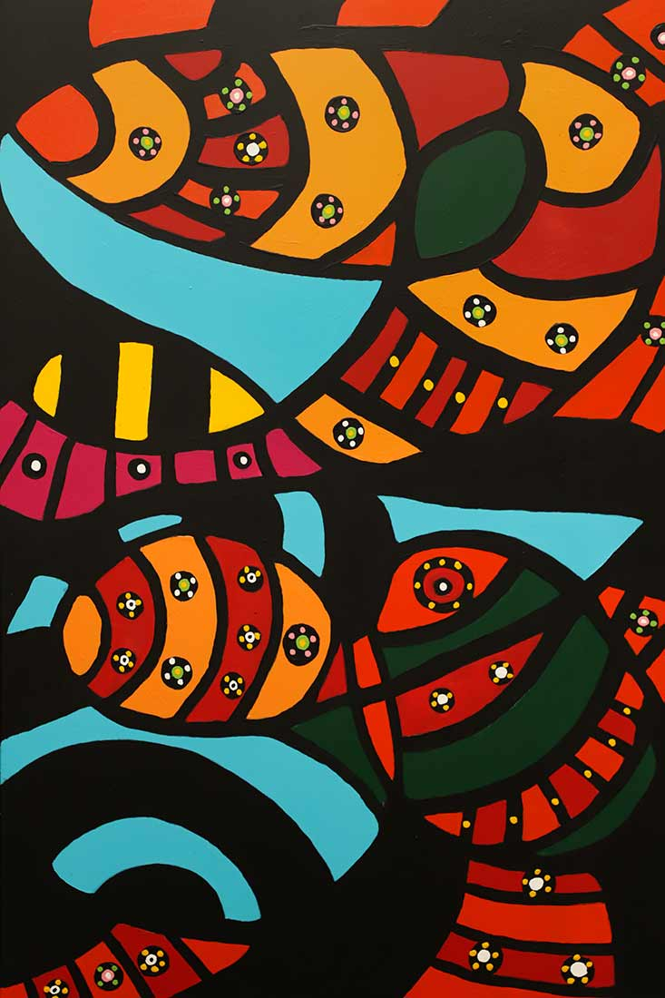 acrylic art painting Poker Chips by artist Roland Roberge