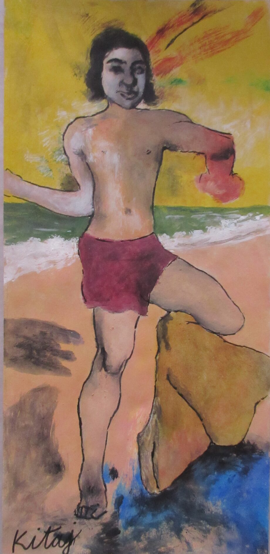 Portrait of a Man a Gouache painting on paper by artist R.B.Kitaj