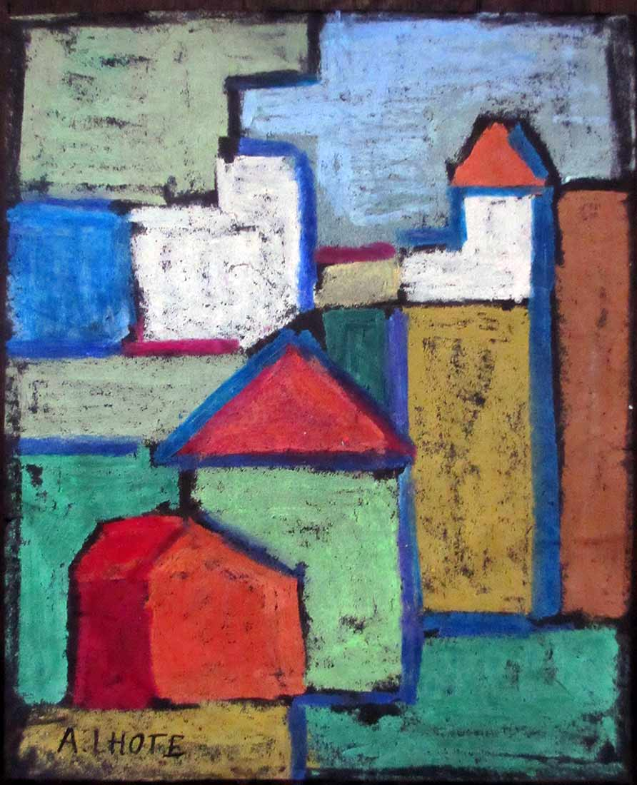 Andre' Lhote - oil pastel art on paper Old Town