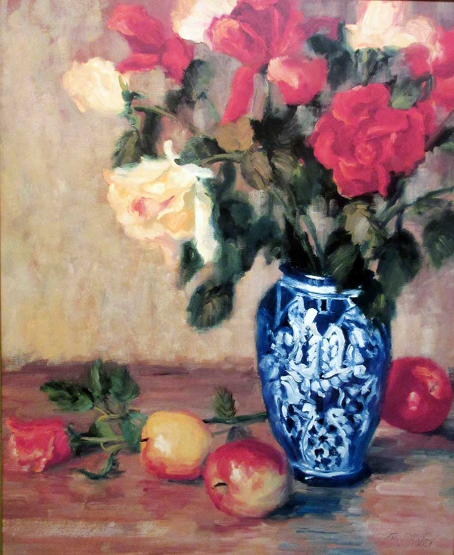 artist Bunny Oliver - lithographic print titled Roses in a Mexican Vase