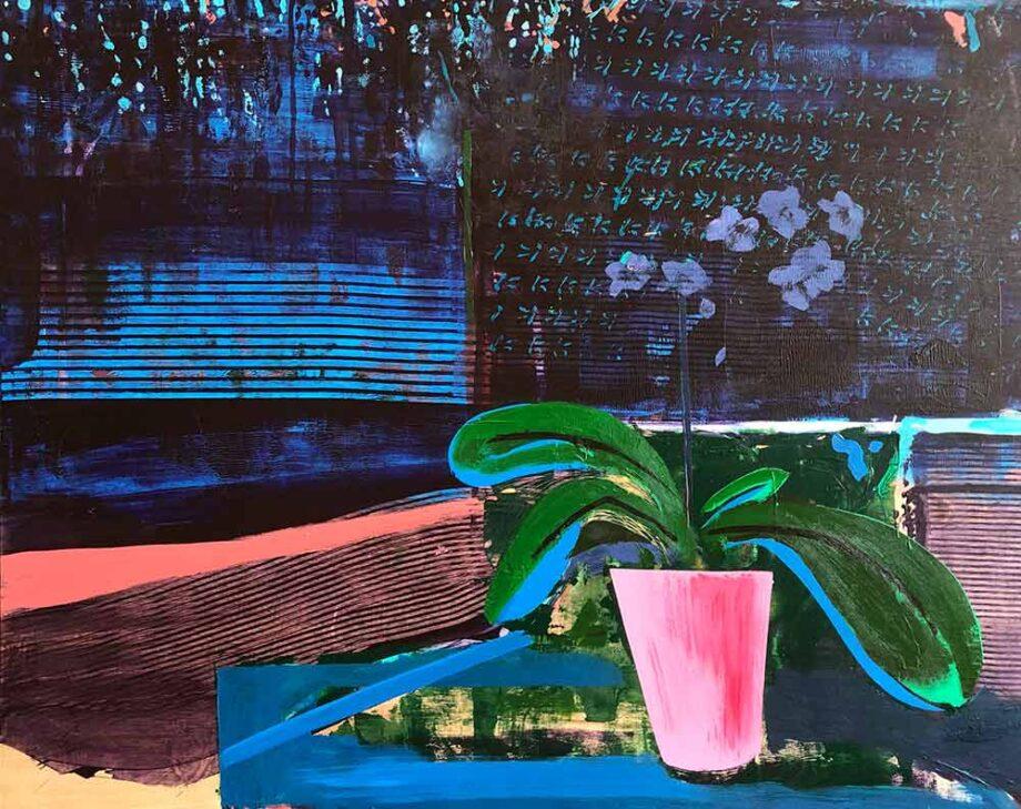 Dusk - mixed-media art on wood panel by Christy Aitken