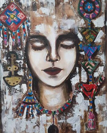 Acrylic Art on canvas titled Etnical Women by artist Muruvvet Durak