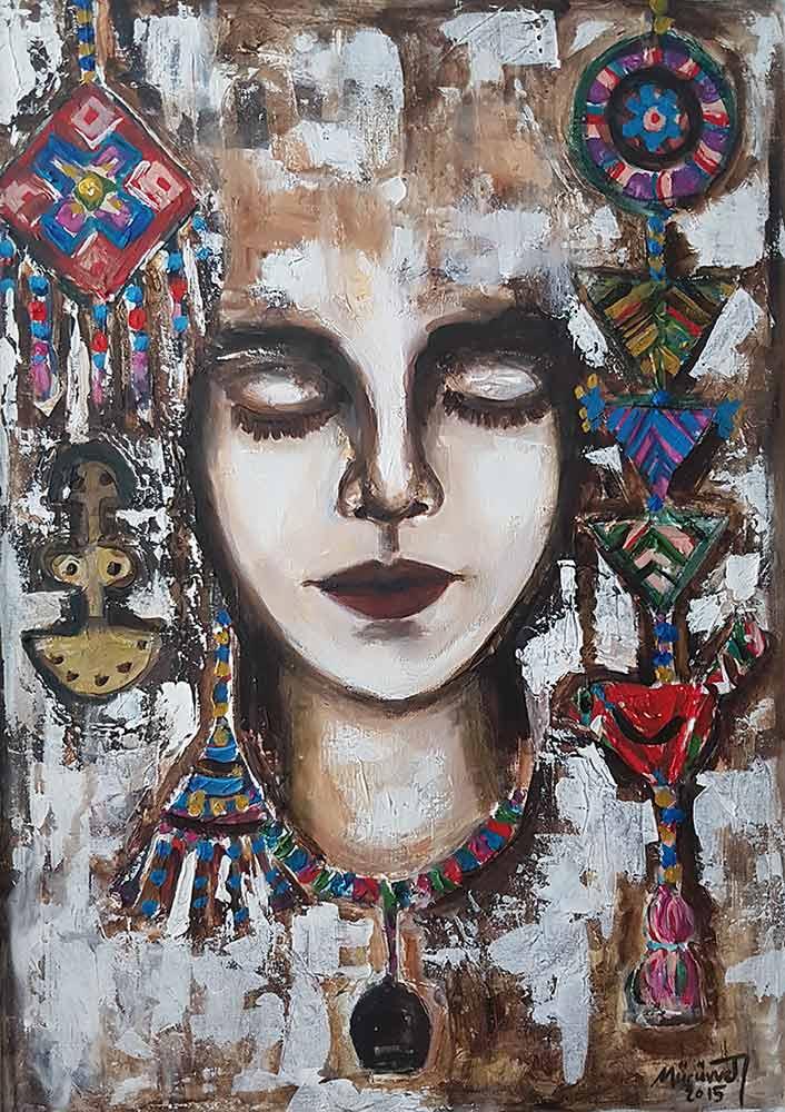 Acrylic Art on canvas titled Etnical Women by artist Muruvvet Durak
