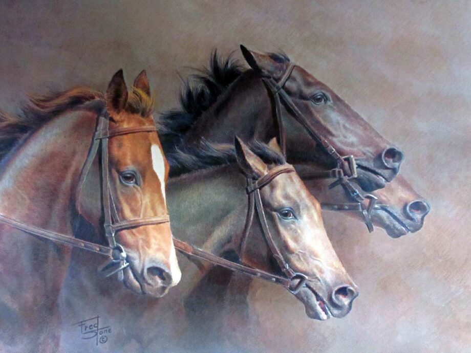 The Thoroughbreds a limited edition lithographic print by equine artist Fred Stone
