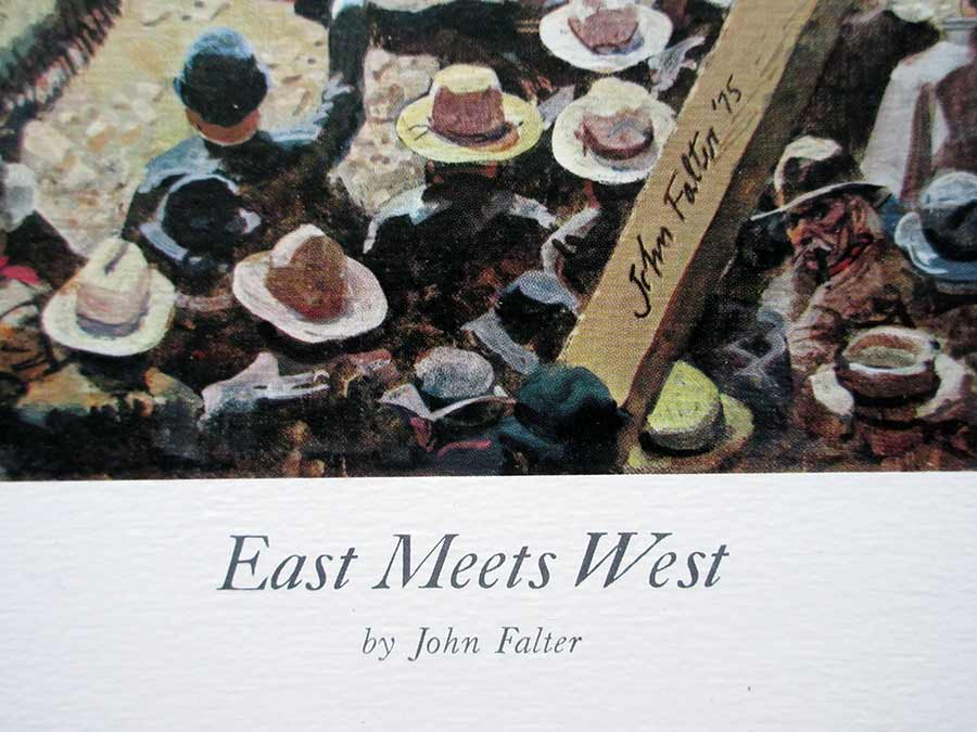 John Falter, American artist, lithographic print East meets West