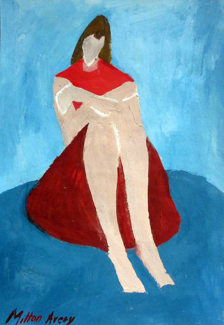 Milton Avery an oil painting on paper Portrait of a Crouched Woman