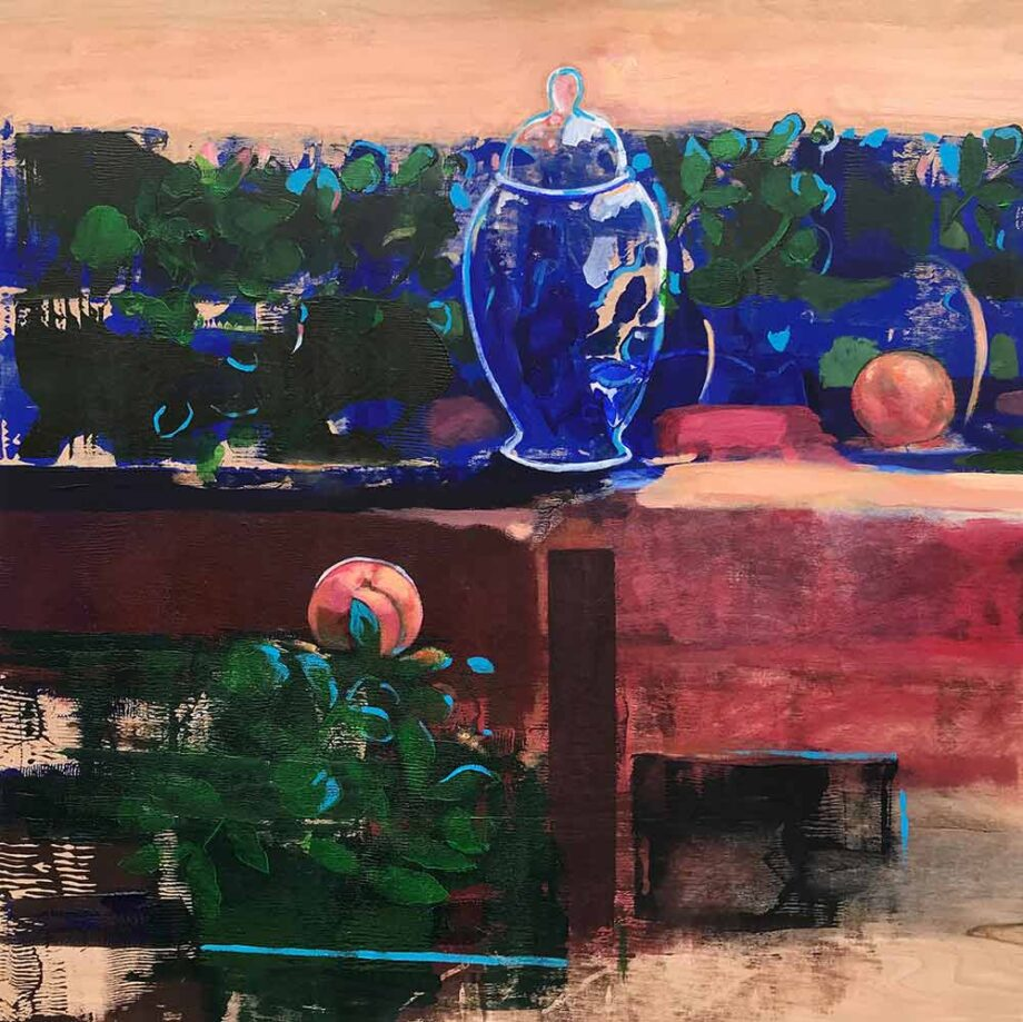 Oriental Spaces - mixed-media art on wood panel by Christy Aitken