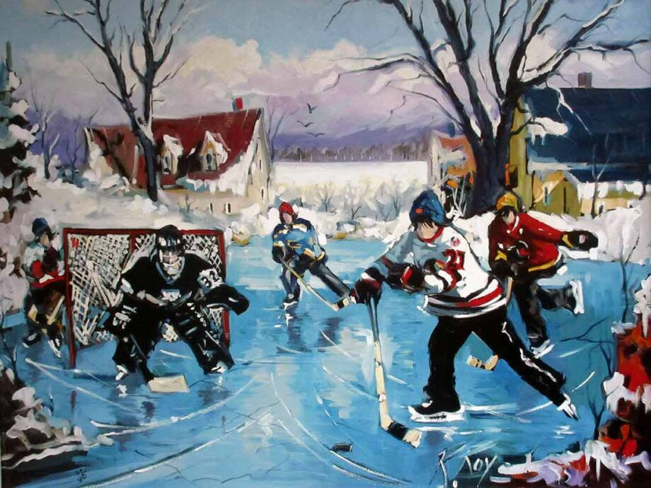 Ice Hockey oil painting titled Pond Hockey Game by noted artist Robert Roy