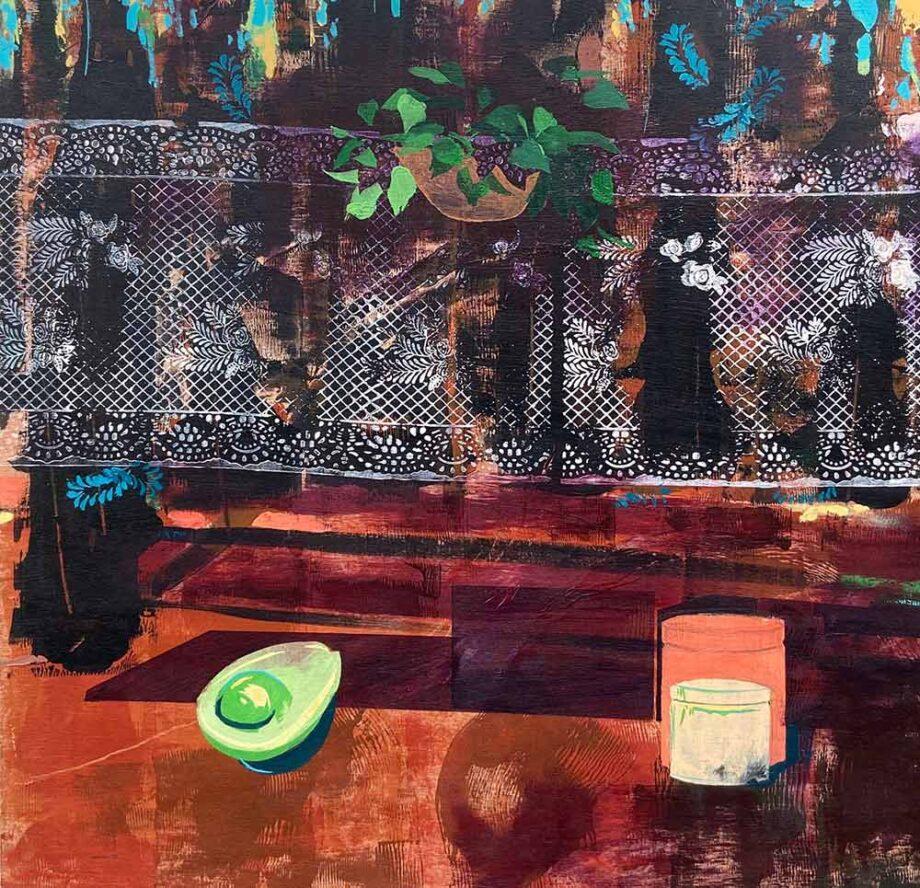 Spanish Influences - mixed-media art on wood panel by Christy Aitken