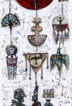 Symbols of World mixed-media painting by international artist Muruvvet Durak