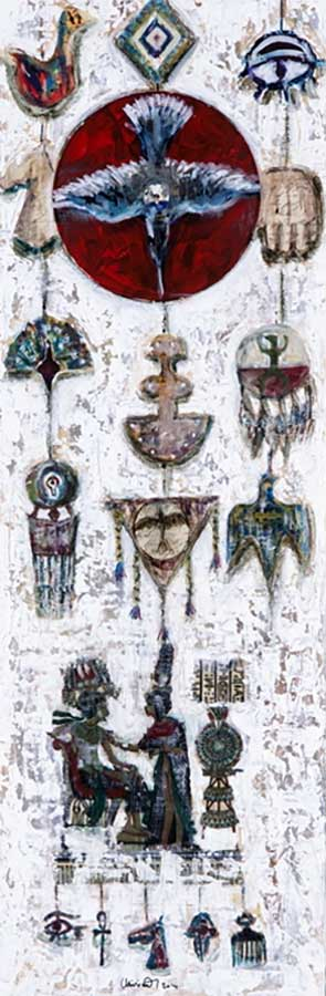 Symbols of World mixed-media painting by international artist Muruvvet Durak