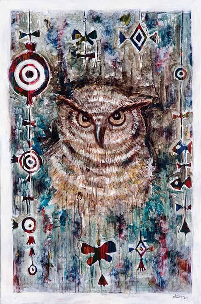 Wisdom a mixed-media painting by artist Muruvvet Durak