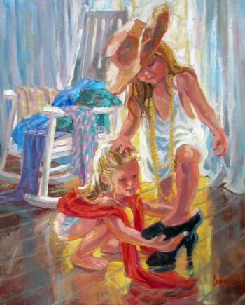 artist Corinne Hartley oil painting on canvas titled Shoe Fitting