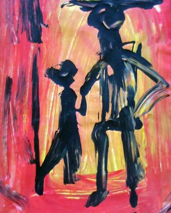 Abstract Oil Painting - Abstract Portrait of Two Figures by Japanese-Brazilian Manabu Mabe