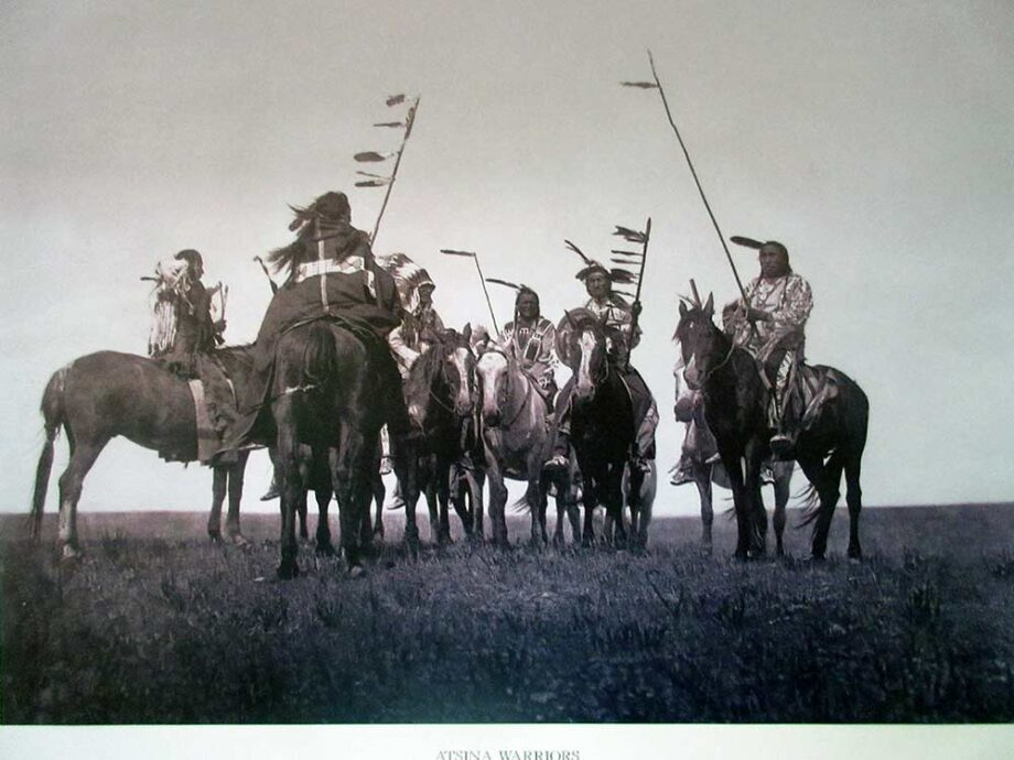 Atsina Warriors Lithographic Print by American photographer Edward S. Curtis