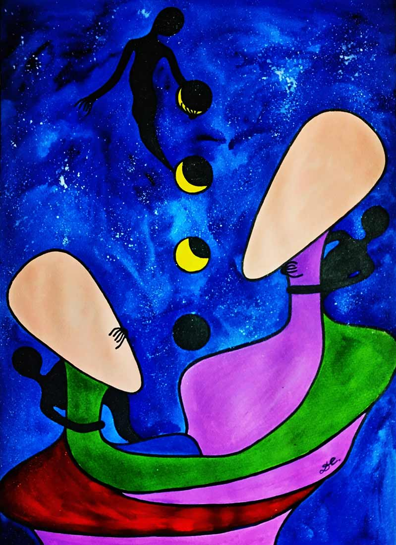 Eclipse in Love an original watercolor painting part of the Black Spirit series by artist Diana Chan
