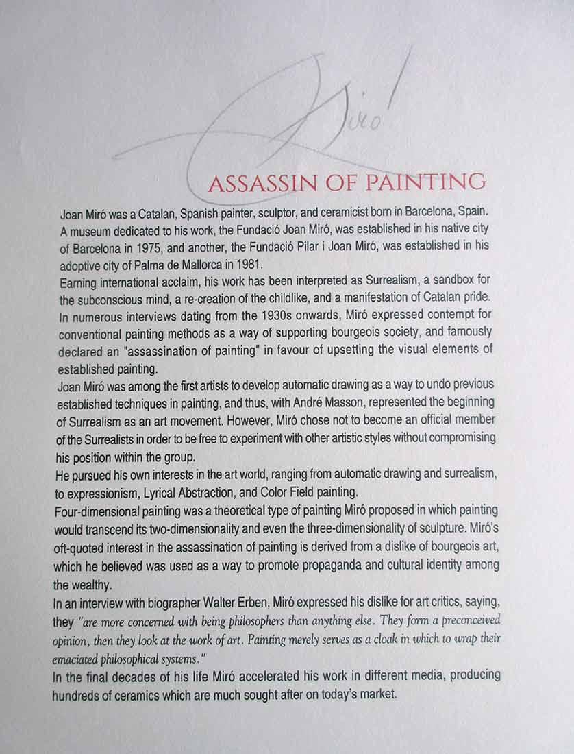 Colpir Sense a Lithographic Print by Joan Miro