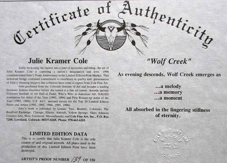 Wolf Creek a Limited Edition Lithographic Print bynoted artist Julie Kramer Cole