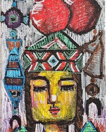 Muruvvet Durak a mixed-media art painting on canvas titled Amulets and Symbols