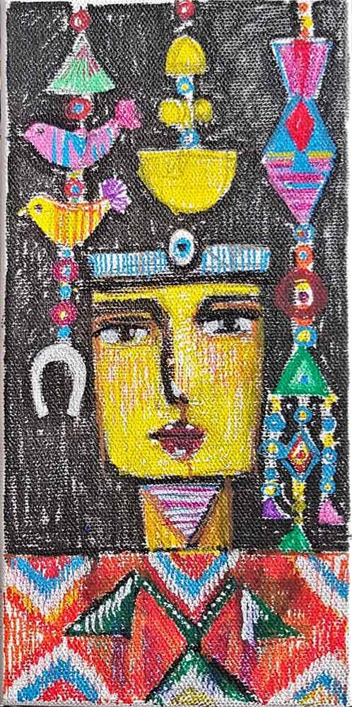 Muruvvet Durak - Turkish artist - mixed-media on canvas titled Symbols