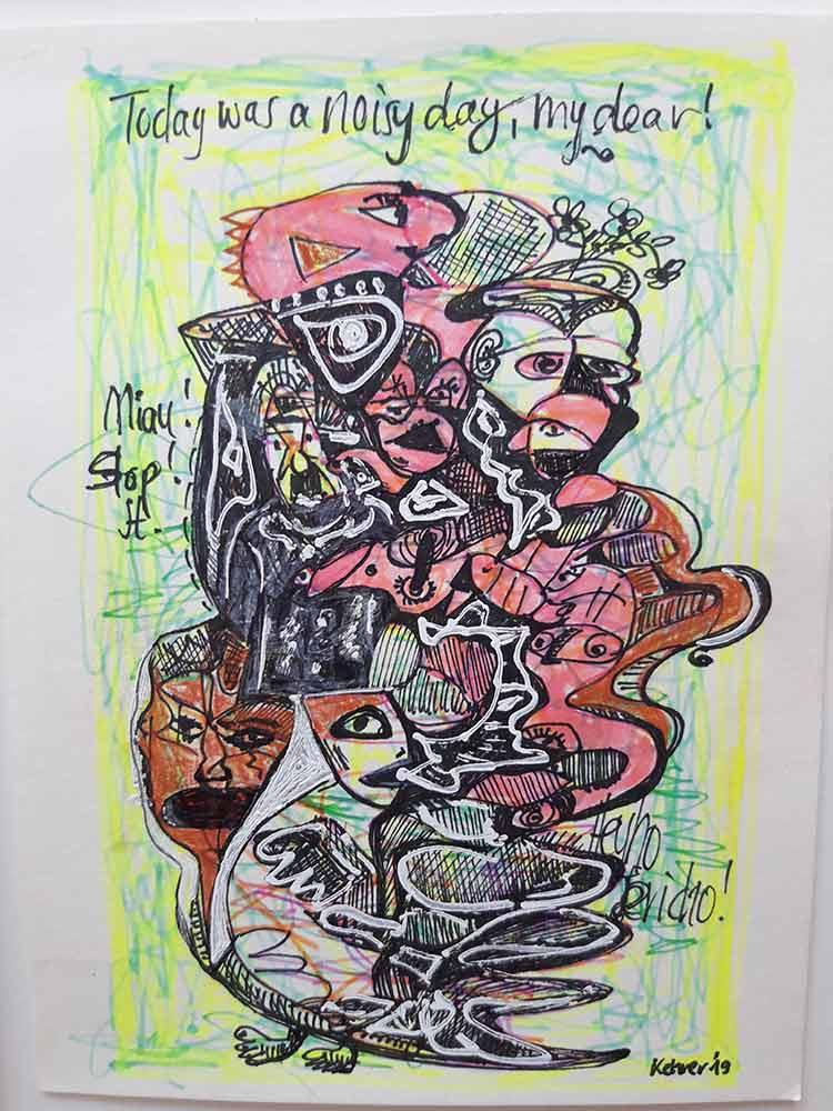Regina Kehrer noted German artist - Noisy days a pencil drawing on paper