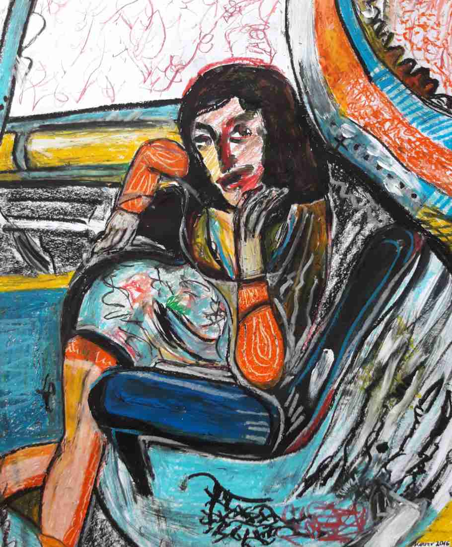 Woman in the Car an oil pastel on paper by  German artist Regina Kehrer