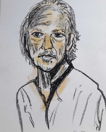 Peter Handke - Poet a watercolor and charcoal on paper by noted German artist Regina Kehrer