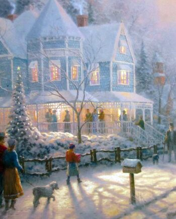 Thomas Kinkade - Painter of Light - A Holiday Gathering - lithographic print