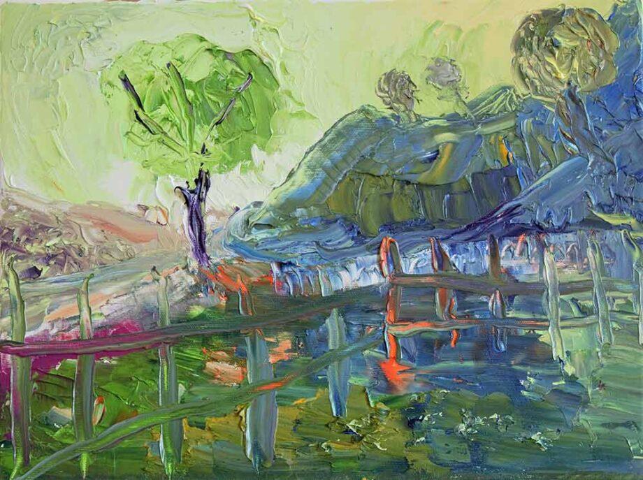 Landscape in color II an oil painting by Dusan Krivsky