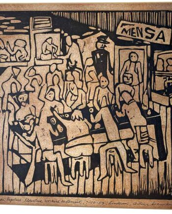Mensa Populare a Linoleum block print by Arthur Secunda dated 1953