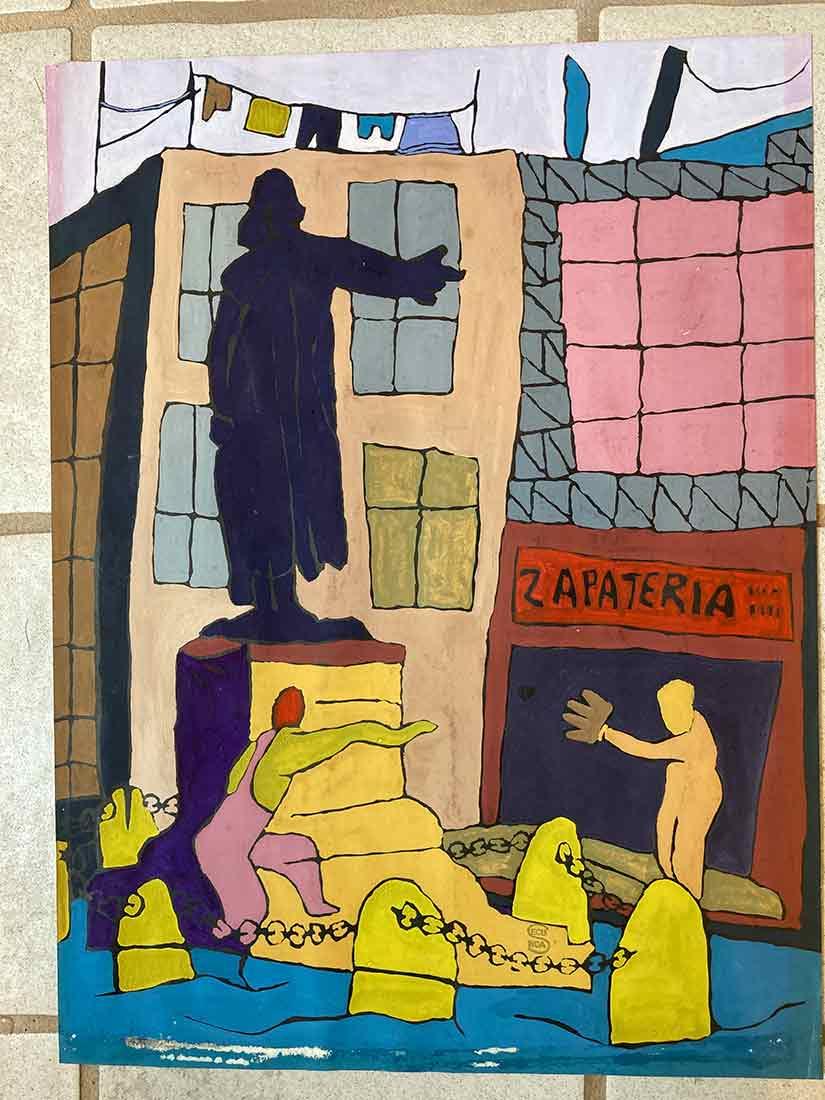 Zapateria a watercolor painting by Arthur Secunda - circa 1960s