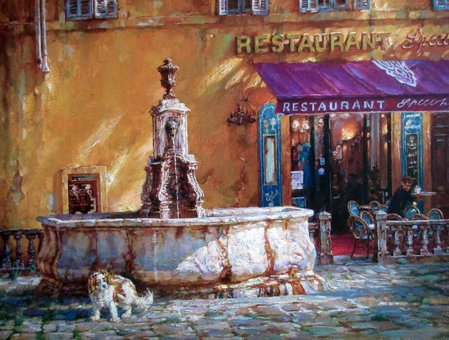 Cao Yong a Hand Textured-Hand Embellished Giclee Canvas Print Town Square Tuscany