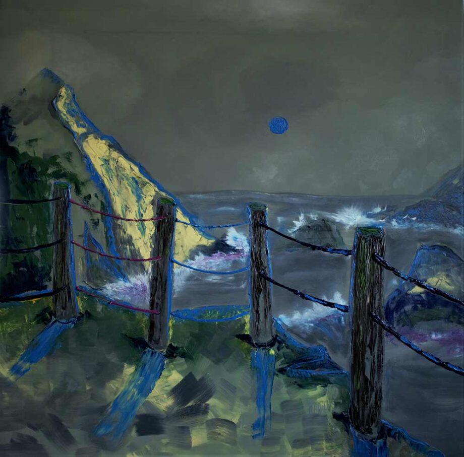 I walk by water alone... II an oil painting by Dusan Krivsky