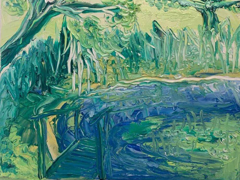 Landscape in color an oil painting by Dusan Krivsky