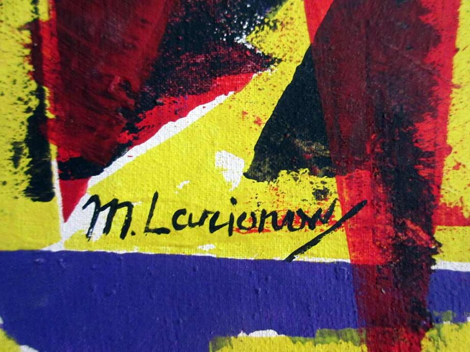 Abstract expressionist composition an oil painting on canvas by Mikhail Larionov