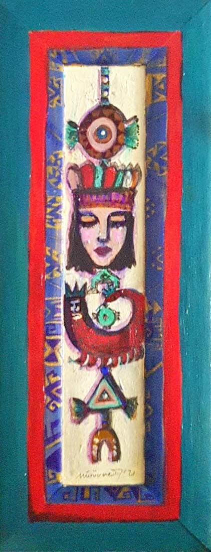 Muruvvet Durak a mixed-media art painting on canvas titled Amulets and Symbols No. 5