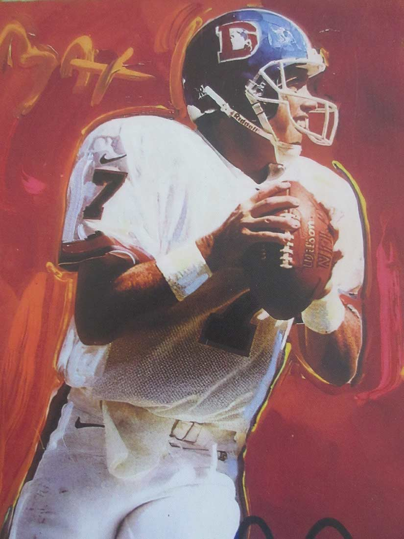 JohnElway - lithograph on canvas by artist Peter Max